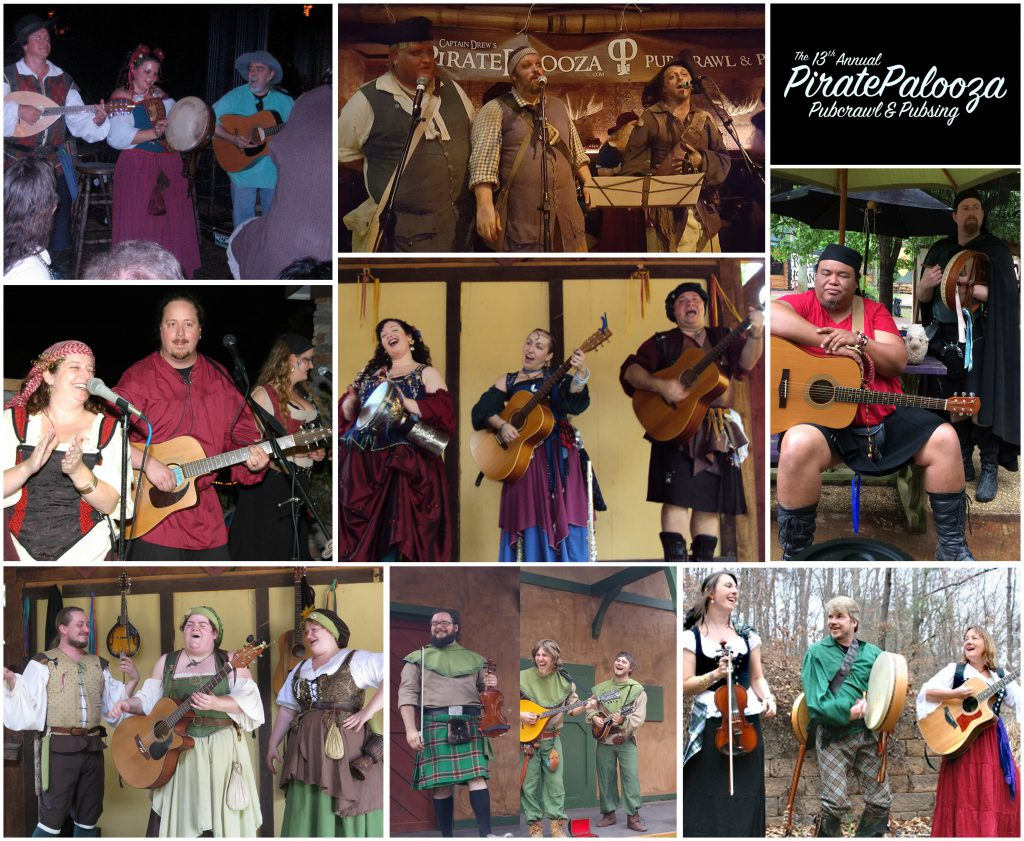 A collage of photos showing the musical acts set to appear at the 2017 PiratePalooza