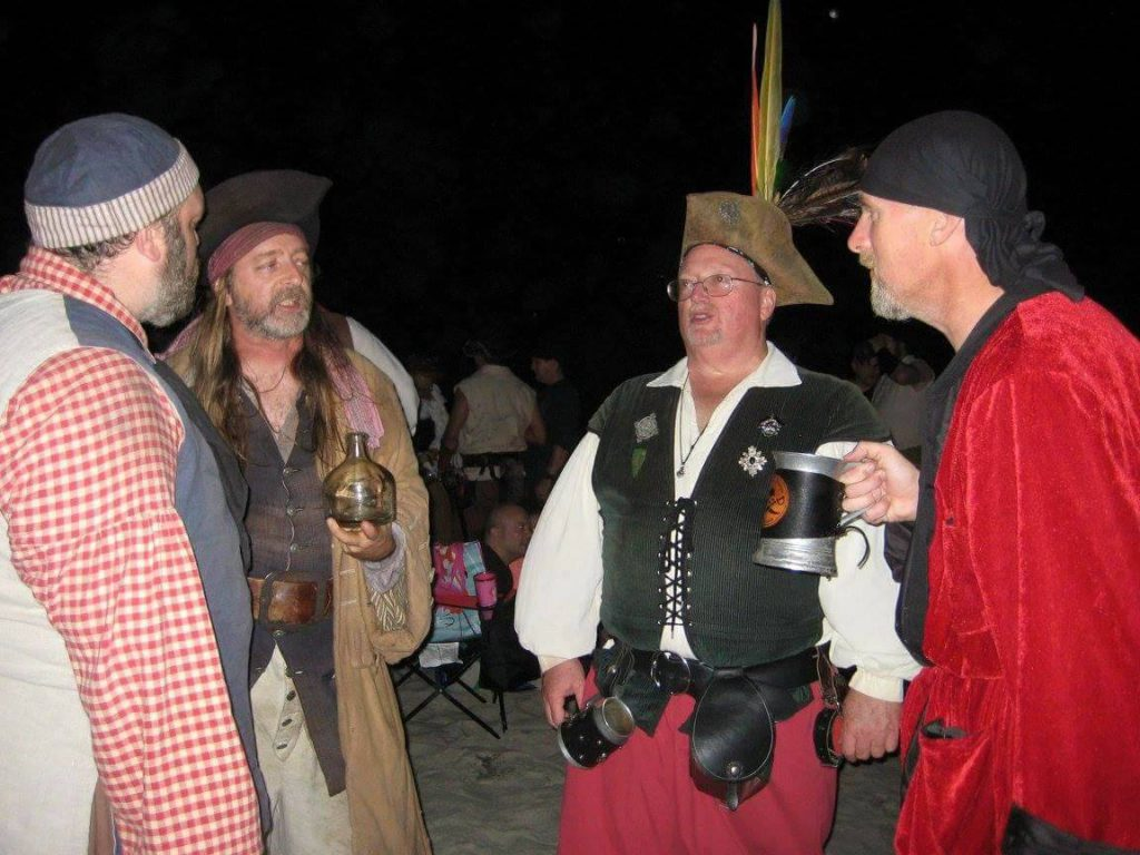 Pirates discussing grog.