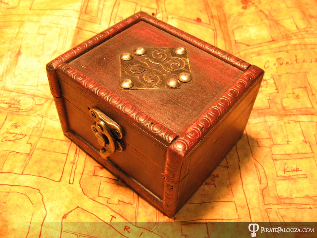 Wooden box with a surprise gift from a pirate inside