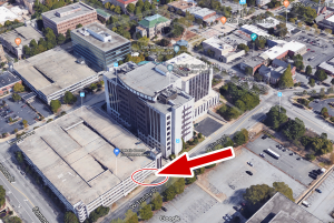 Aerial photo of DeKalb County Courthouse Parking Deck