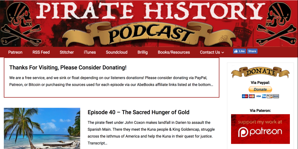 Screenshot of the Pirate History Podcast's webpage.